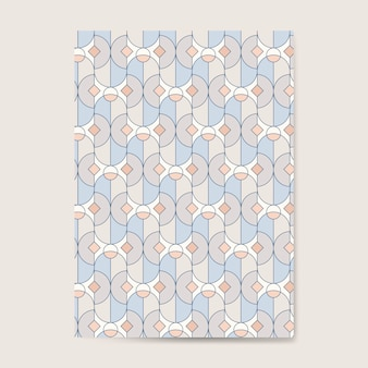 Colorful pastel geometric seamless pattern on a blue card