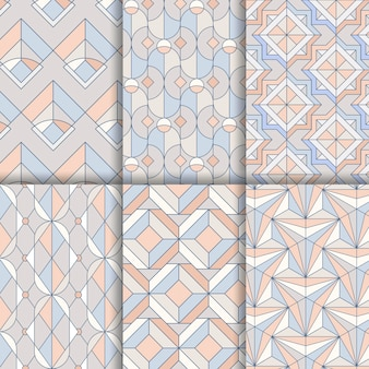 Colorful pastel geometric seamless patterns set