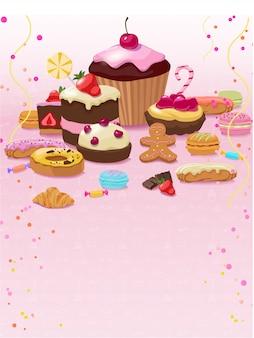 カラフルなペストリーやお菓子のテンプレート