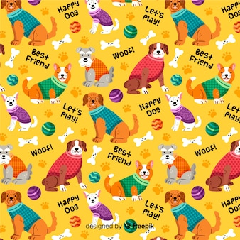Colorful pattern background of dogs