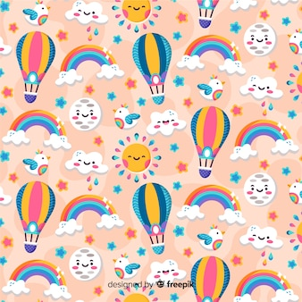 Colorful pattern background with rainbows