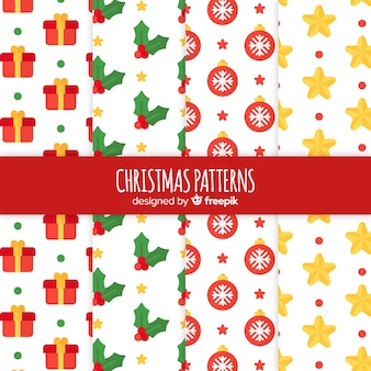 Colorful pattern collection with christmas elements