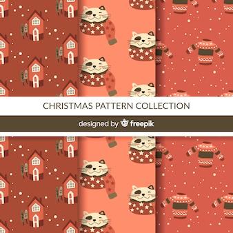 クリスマス要素でカラフルなパターンのコレクション