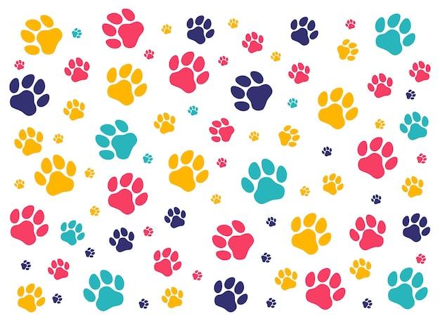 犬や猫のカラフルなパターンの足跡。孤立したシルエットベクトル。