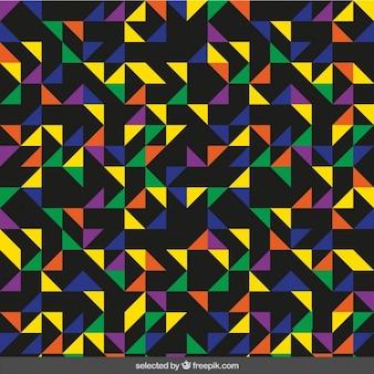 검정색 배경에서 삼각형으로 만든 화려한 패턴