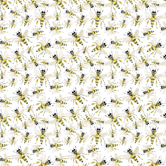 Colorful pattern of honey bees illustration