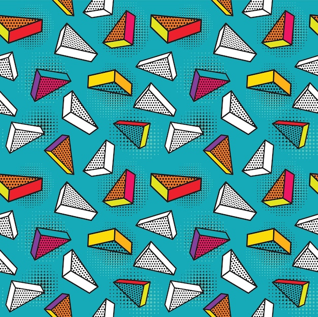 Colorful pattern with 3d graphic elements.