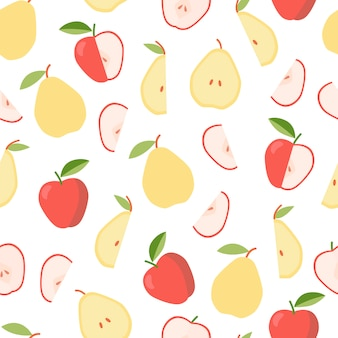 Colorful pattern with apple and pear