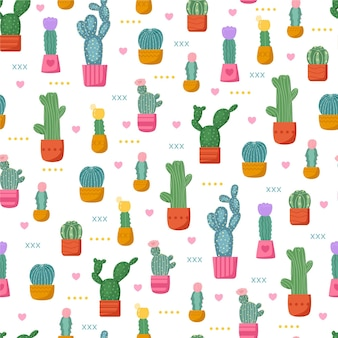 Colorful pattern with cactus plants