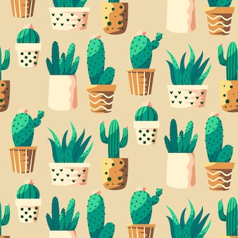 Colorful pattern with different cactus plants