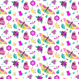 Colorful pattern with different flowers and insects