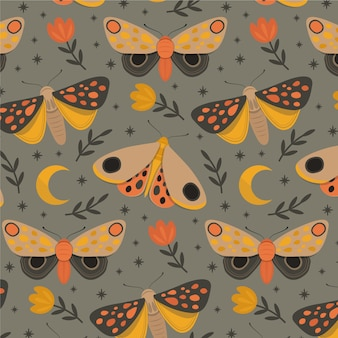 Colorful pattern with different insects and flowers
