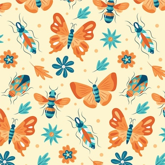 Modello colorato con diversi insetti e fiori