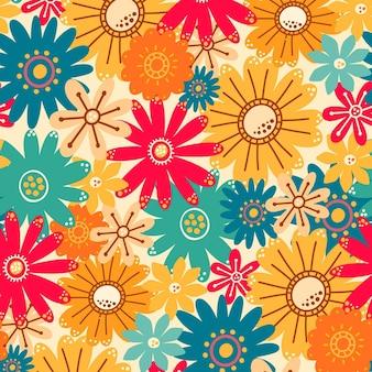 さまざまなかわいい花とカラフルなパターン