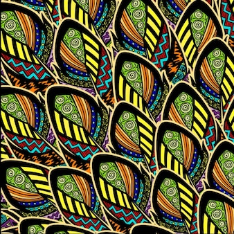 Colorful pattern with feathers