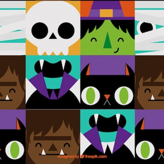 Colorful pattern with halloween monsters faces