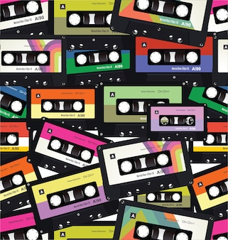 Colorful pattern with old audio cassettes