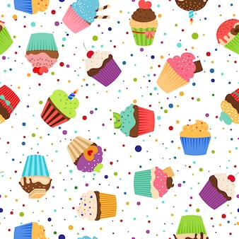 Colorful pattern with sweet cupcakes on dotted white background.