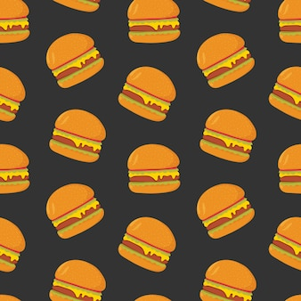 Colorful pattern with tasty hamburgers on dark background.