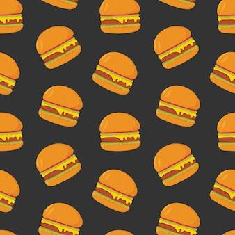 Красочная картина с вкусными гамбургерами на темной предпосылке.