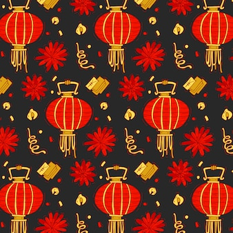 Colorful pattern with traditional elements of chinese new year. bright chinese new year background..