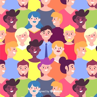 Colorful pattern of young people