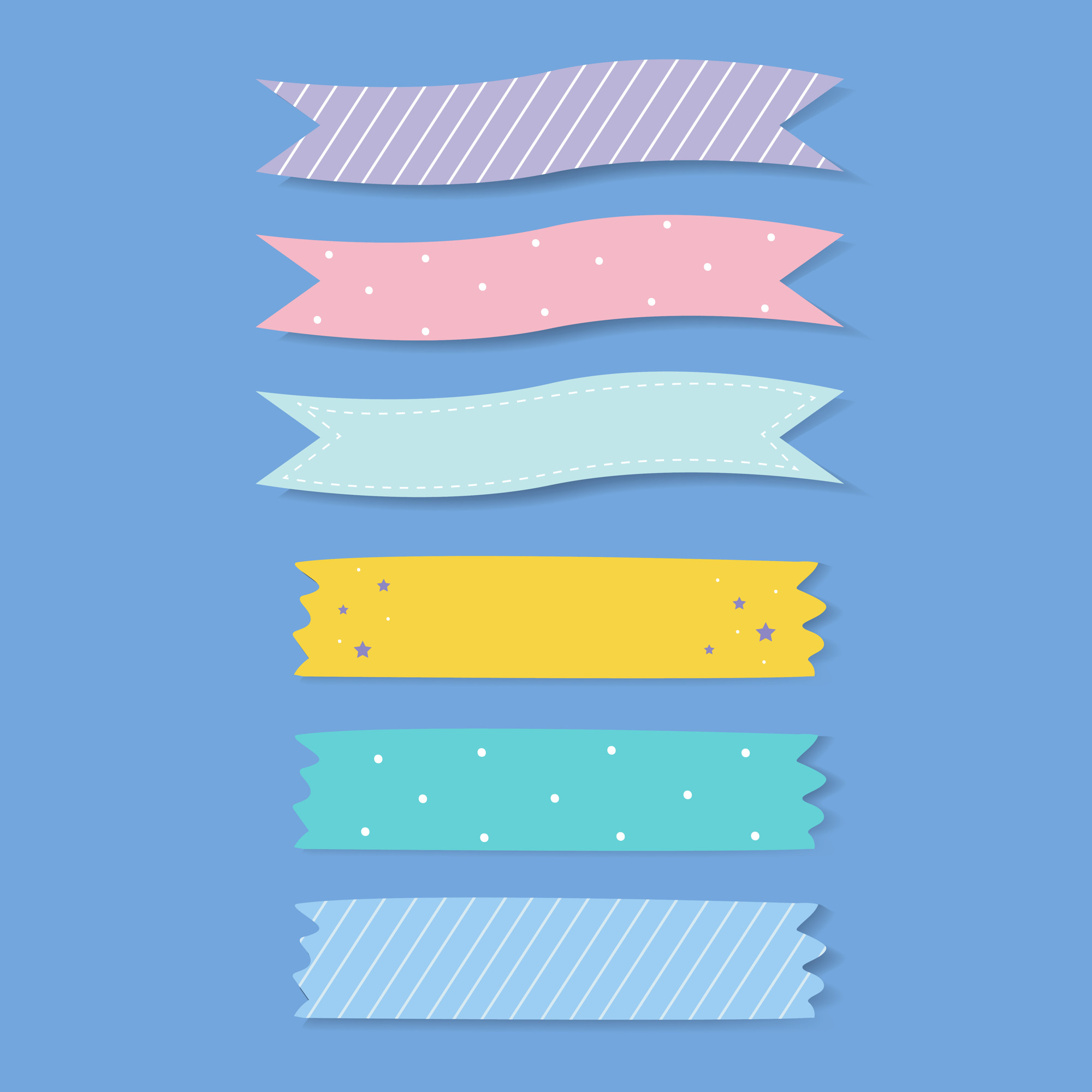 Colorful patterned adhesive tape vector set