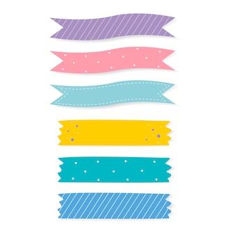 화려한 꽃 무늬 접착 테이프 벡터 세트