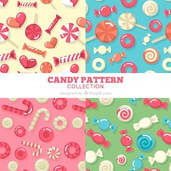 おいしいキャンディーとカラフルなパターンのコレクション