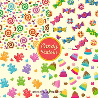 Colorful patterns collection with delicious candies