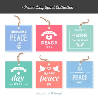 Colorful peace day label collection