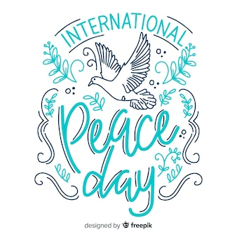 Colorful peace day lettering background