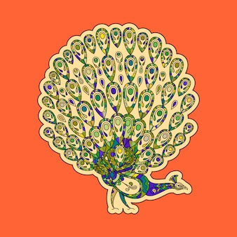 Colorful peacock sticker