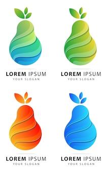 カラフルな梨のロゴの抽象的なテンプレート