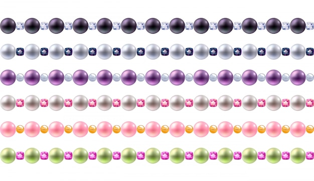 Colorful pearls and gemstones borders set. seamless horizontal borders for .