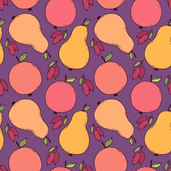 Colorful pears pattern. reapiting background with pears, apples and dogwood berries. autumn textile design and childish seasonal print