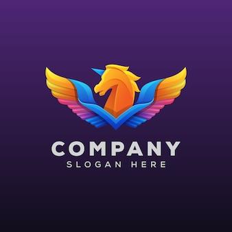 Colorful pegasus or horse logo