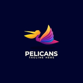 カラフルなペリカンのロゴのテンプレート