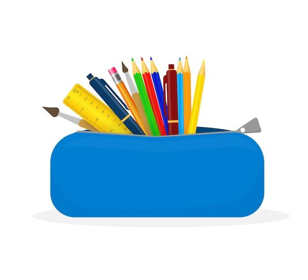 흰색 바탕에 다채로운 연필 케이스입니다. 학교 용품 만화 그림입니다.