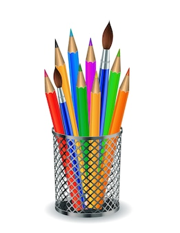 Colorful pencils and brushes in the holder. vector illustration