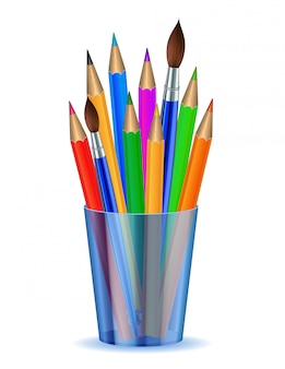 Colorful pencils and brushes in the holder.