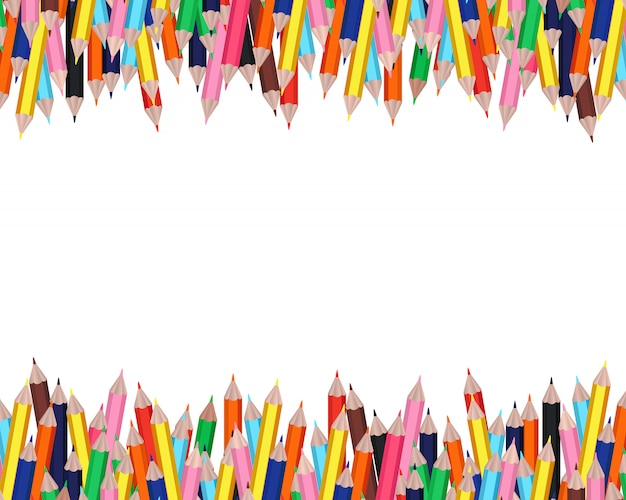 Colorful pencils frame with white