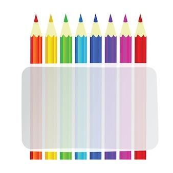 텍스트에 대 한 배너와 함께 다채로운 연필 벡터 배경