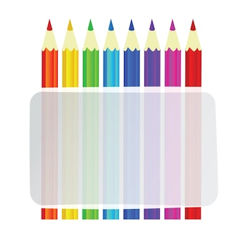 Colorful pencils vector background with banner for text