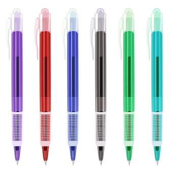 カラフルなペンはイラストを設定します。白いペンセットに分離されました。現実的なペンがデザインに設定。