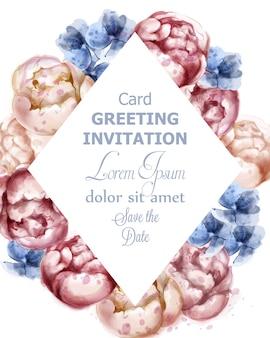 カラフルな牡丹の花の水彩グリーティングカード