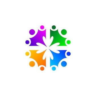 カラフルな人々とコミュニティのロゴデザインのための花