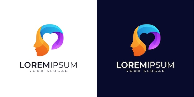 Красочные люди и любовь к дизайну логотипа вдохновение