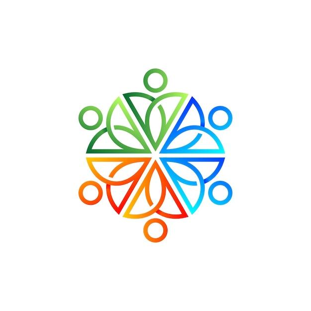 コミュニティのロゴデザインのためのカラフルな人々と曼荼羅