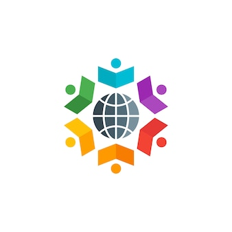 Colorful people book with global symbol logo